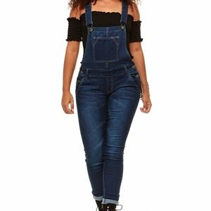 Covergirl overall jeans size 24w NWT dark wash
